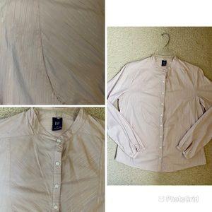 GAP bib style button down striped shirt